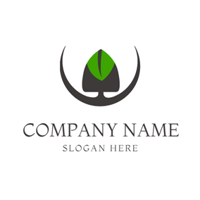 Black and Green Spade logo design