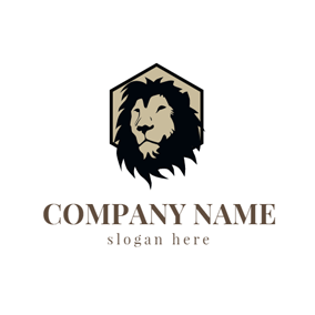 Black and Khaki Lion Face logo design