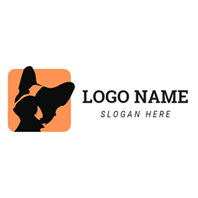 Black and Orange Bulldog Head logo design