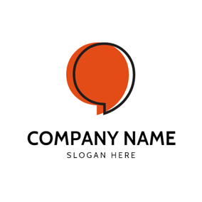 Black and Orange Comma logo design