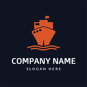 Black and Orange Sailboat logo design