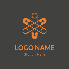 Black and Orange Twining Pin logo design