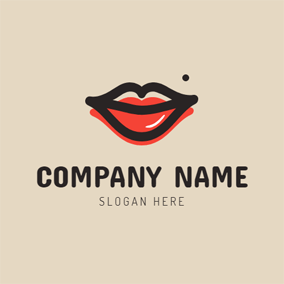 Black and Red Lip logo design
