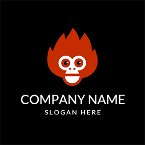 Black and Red Monkey Face logo design