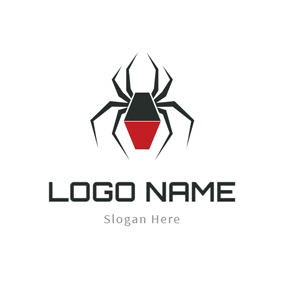 Black and Red Spider logo design