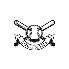 Black and White Baseball Bat logo design