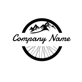 Black and White Bike Wheel logo design
