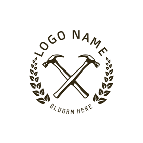 Black and White Branch and Hammer logo design