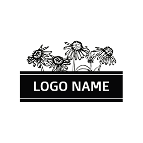 Black and White Chrysanthemum logo design