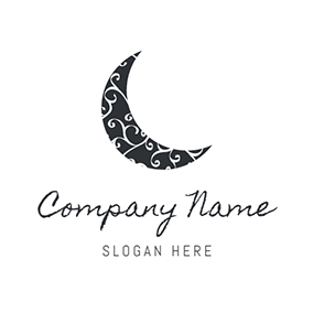 Black and White Crescent Moon logo design