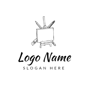 Black and White Drawing Board logo design