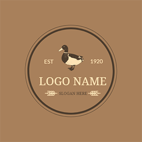 Black and White Duck logo design