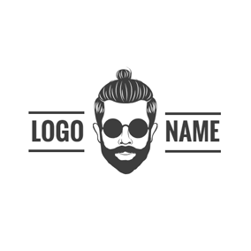 Black and White Fashion Man Head logo design