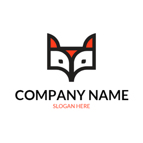 Black and White Fox Head logo design
