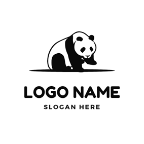 Black and White Giant Panda logo design