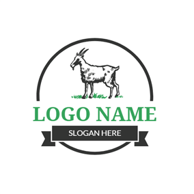 Black and White Goat logo design