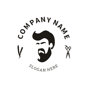 Black and White Man Head logo design