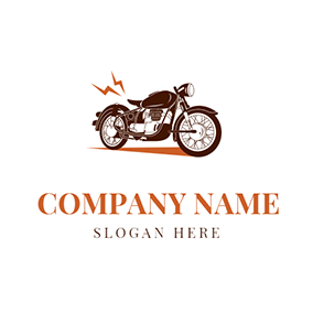 Black and White Motorcycle Icon logo design