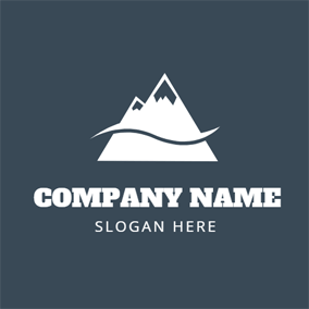Black and White Mountain Peak logo design