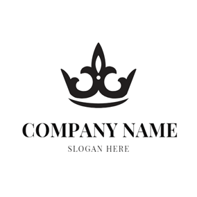 Black and White Pattern Crown logo design