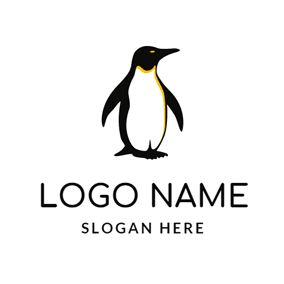 Black and White Penguin logo design