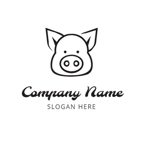 Black and White Pig Head logo design