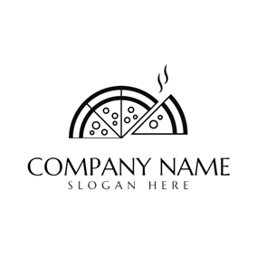 Black and White Pizza logo design