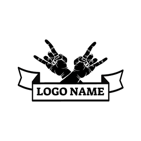 Black and White Rocker Hand logo design