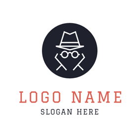 Black and White Round Detective logo design