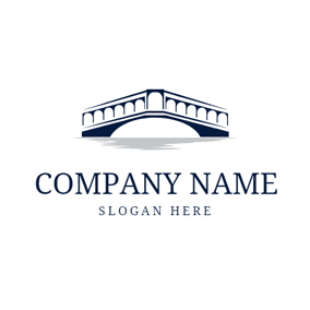 Black and White Stone Arch Bridge logo design