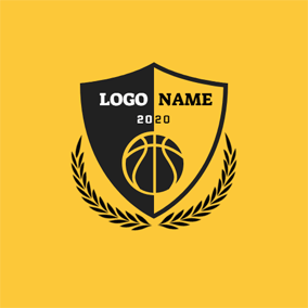 Black and Yellow Basketball logo design