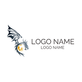Black and Yellow Dragon logo design