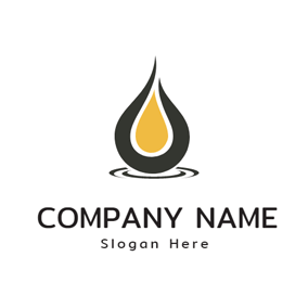 Black and Yellow Oil Drop logo design