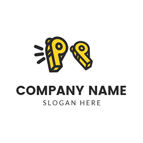 Black and Yellow Quote logo design