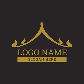 Black and Yellow Thai Style Roof logo design