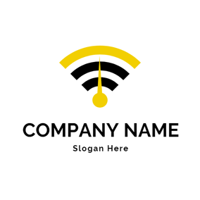 Black and Yellow Wifi logo design