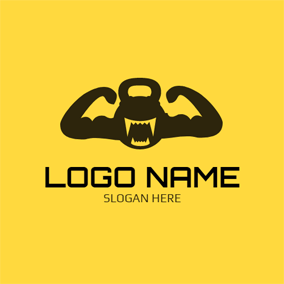 Black Anthropomorphic Dumbbell logo design