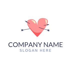 Black Arrow and Pink Heart logo design