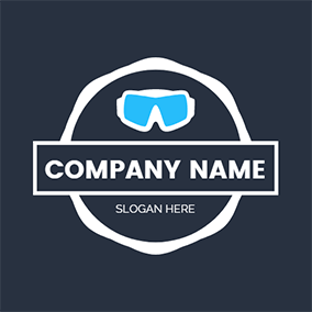 Black Background and Blue Glasses logo design