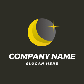 Black Background and Covered Sun logo design