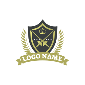 Black Badge and Cross Sword logo design
