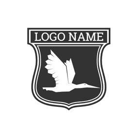 Black Badge and Fly Pelican logo design