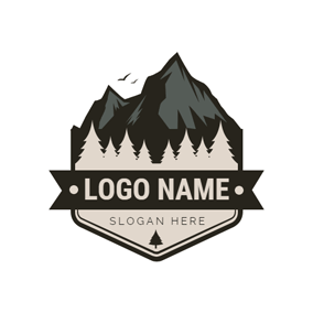 Black Badge and Mountain Icon logo design