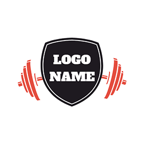 Black Badge and Red Weightlifting logo design