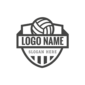 Black Badge and Volleyball logo design