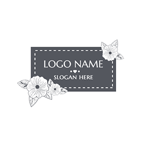 Black Badge and White Flower logo design