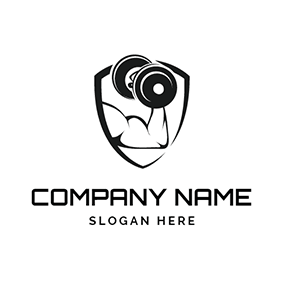 Black Badge and White Muscle logo design