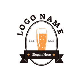 Black Badge and Yellow Beer logo design