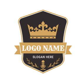 Black Badge and Yellow Crown logo design