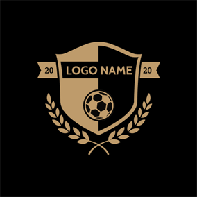 Black Badge and Yellow Football logo design